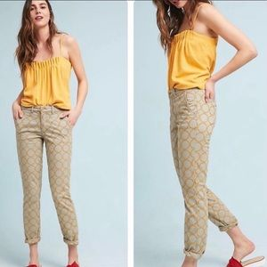 Anthro Chino Gray Gold Embroidered Pants